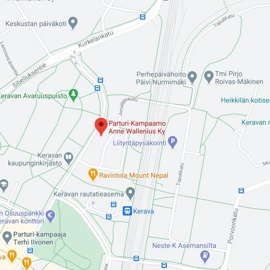 Parturi kampaamo Kerava kartta